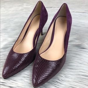 Cole Haan purple suede and snakeskin heel 8